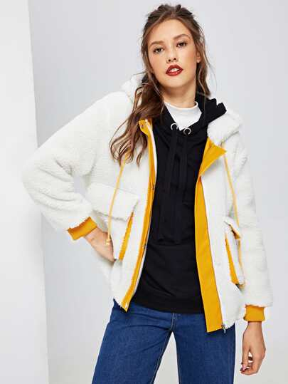 Pocket Front Zip Up Faux Fur Jacket