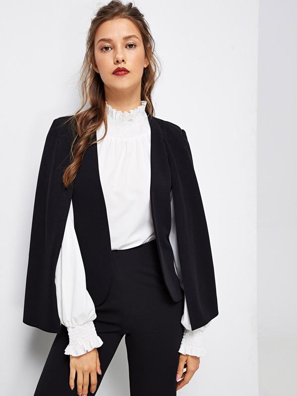 Cloak Sleeve Open Front Blazer, Oliwia