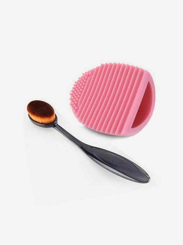 Очиститель для кисти и кисть для макияжа 2 шт