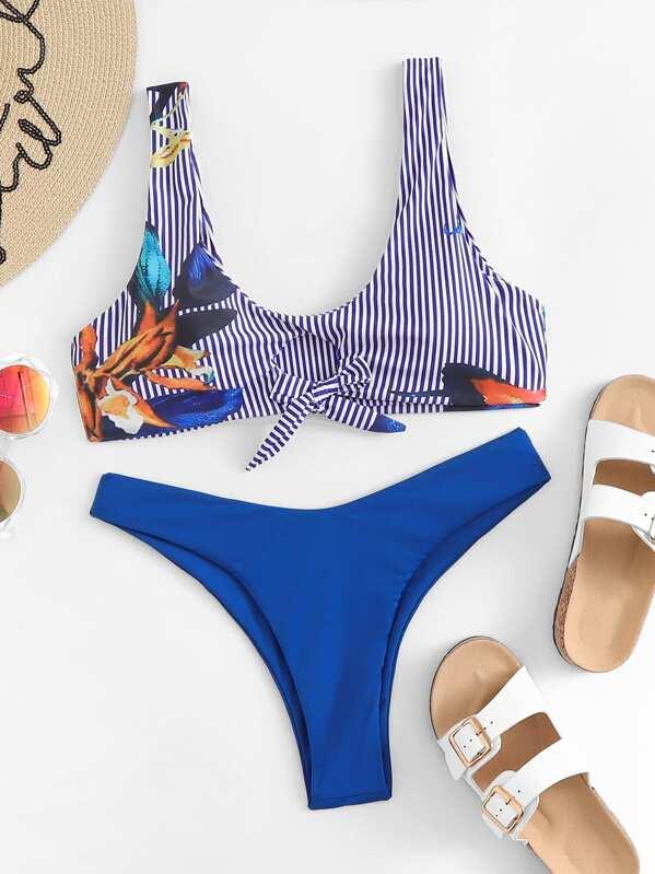 Random Floral Striped Top With Cheeky Bikini Set