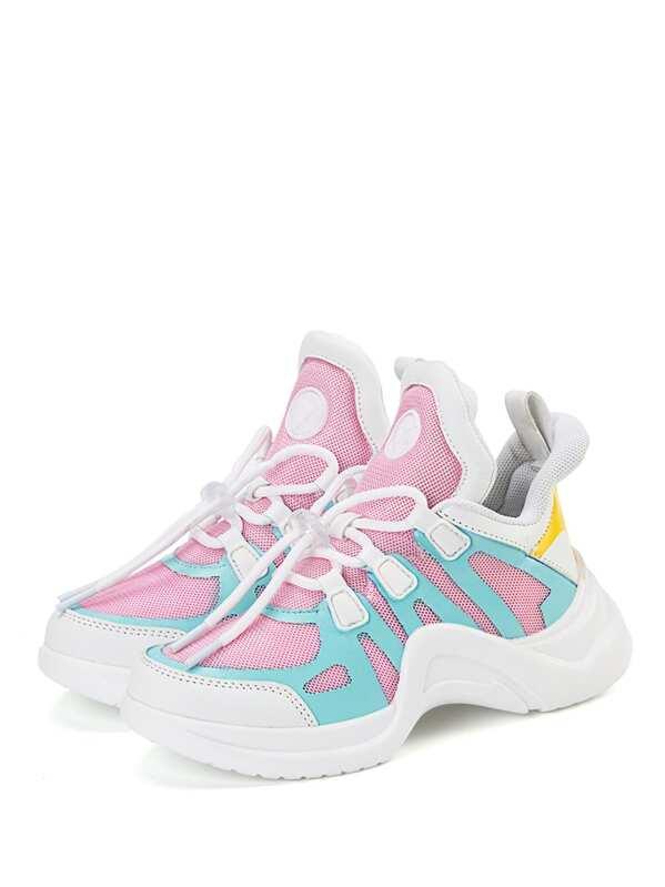 Контрастные спортивные туфли для малышских девочек, null