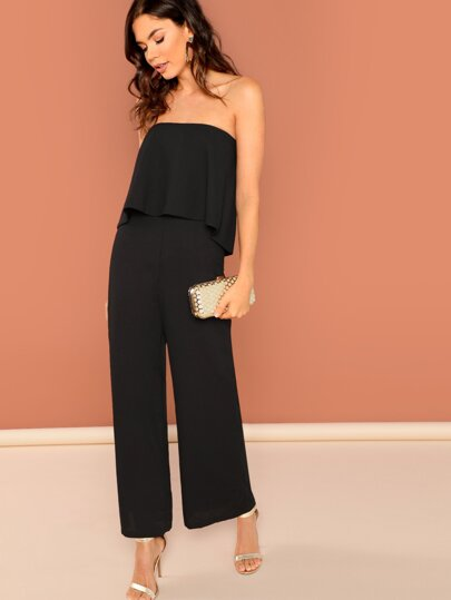 Foldover Front Open Back Palazzo Strapless Jumpsui...