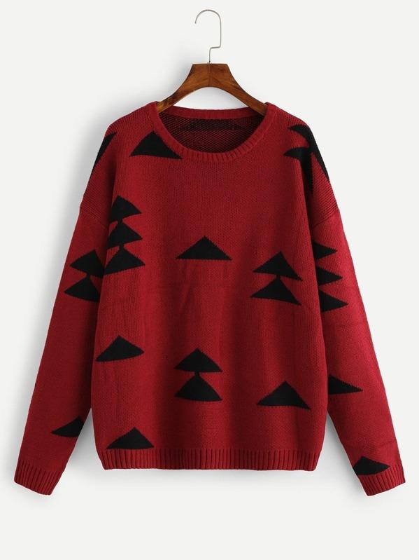 Drop Shoulder Christmas Tree Print Jumper, null