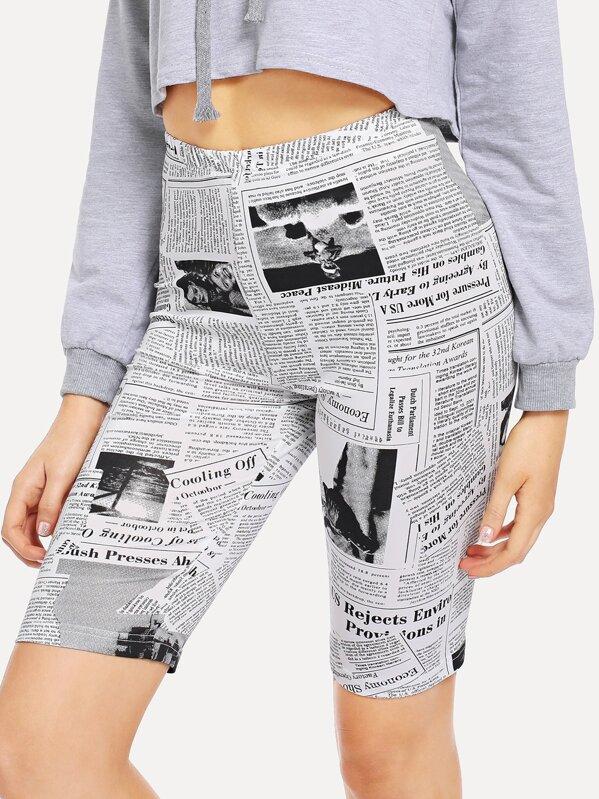 Newspaper Print Cycling Shorts