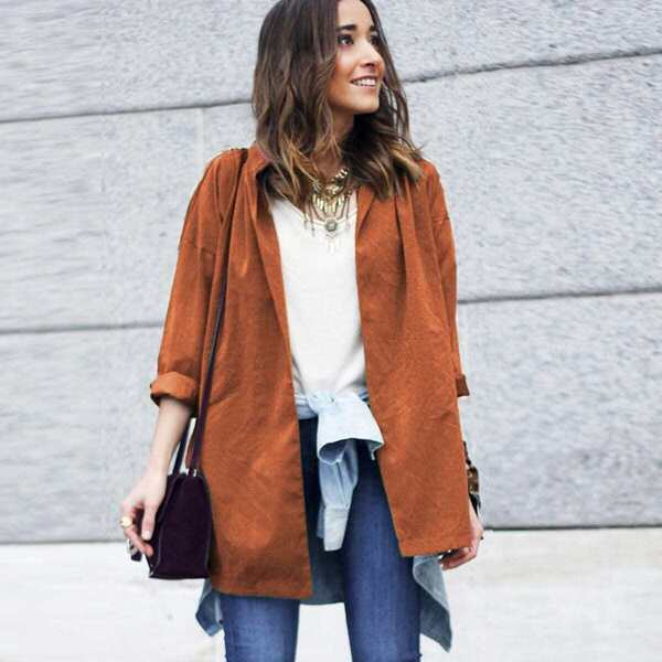 Slit Side Belt Coat, Brown