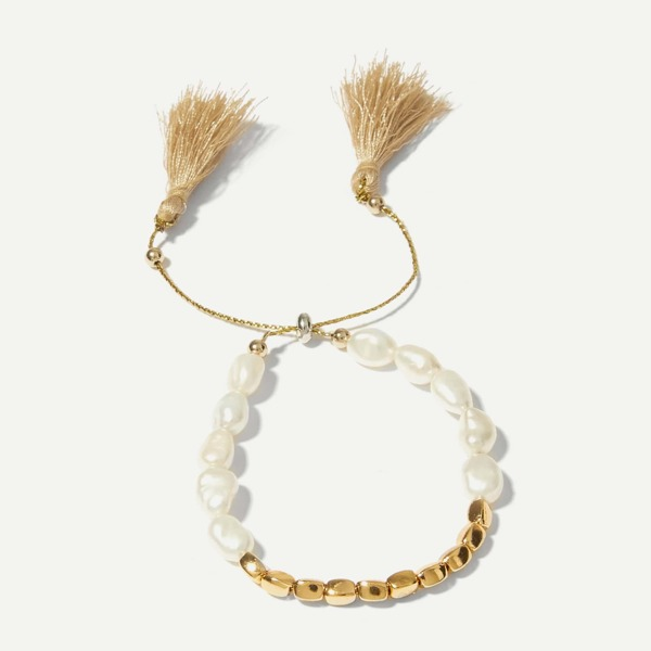 Faux Pearl Beaded Tassel Bracelet 1pc