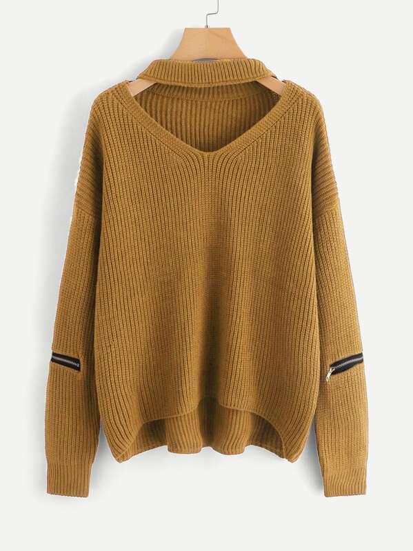 Плюс размеры колье на шею свитер с асимметричным низом, null