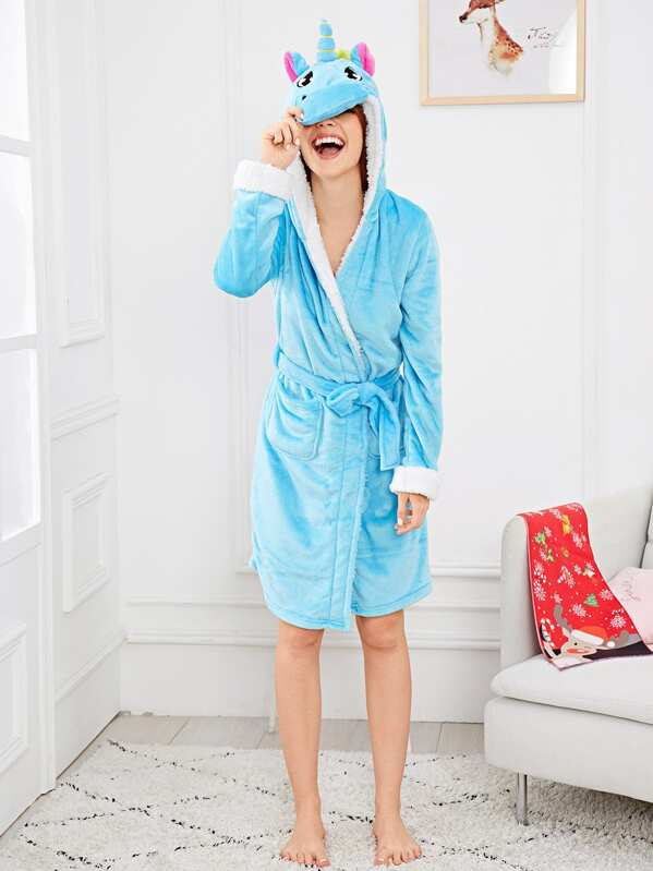 Christmas Unicorn Self Belted Hooded Robe, Poly