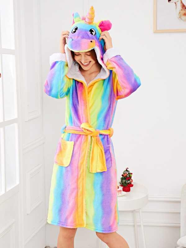Christmas Rainbow Print Unicorn Hooded Robe, Poly