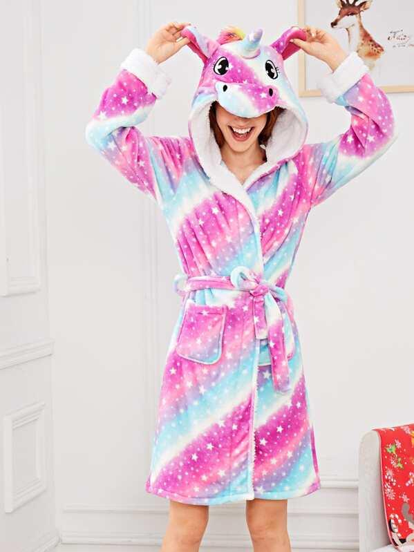 Christmas Star Print Unicorn Hooded Robe, Poly