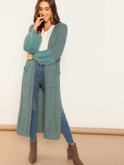Open Front Chunky Knit Duster Cardigan Sweater