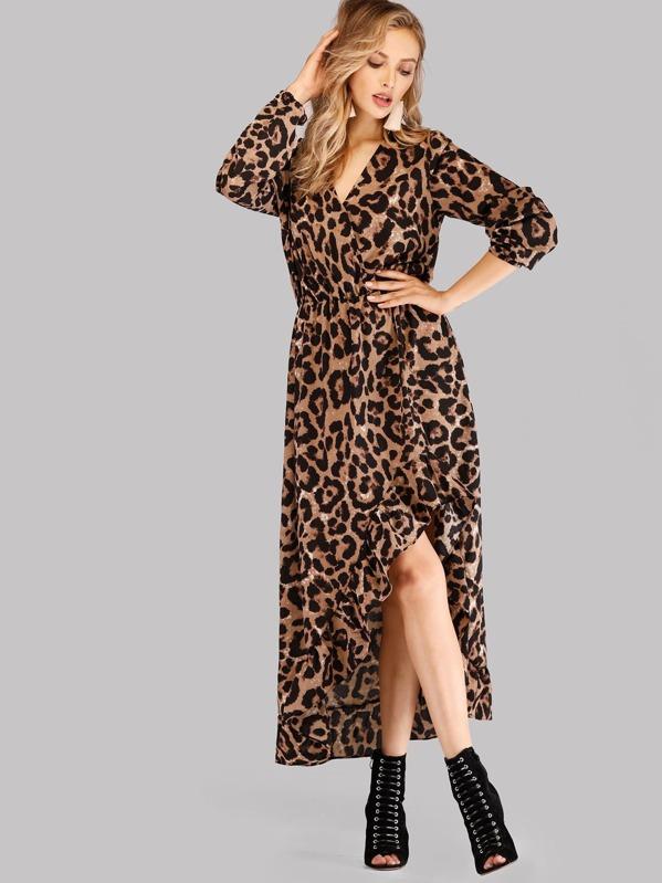 Ruffle Hem Asymmetrical Surplice Leopard Dress, Dary