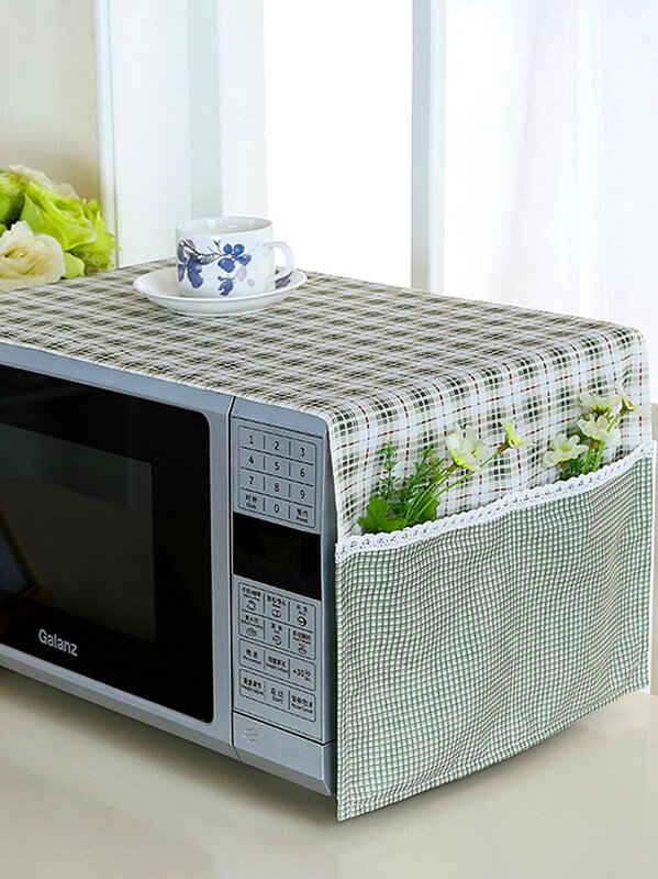 Gingham Pattern Microwave Oven Dust Cover
