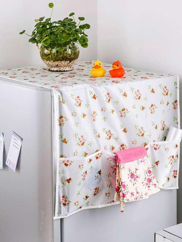 Flower Print Refrigerator Dust Cover 1pc