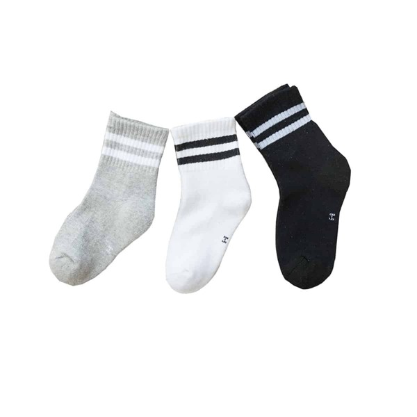 Toddler Kids Striped Hem Socks 3pairs