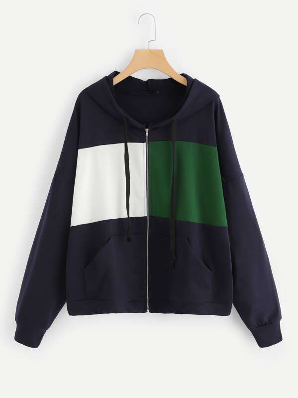 Plus Cut-and-Sew Zip Up Hooded Sweatshirt