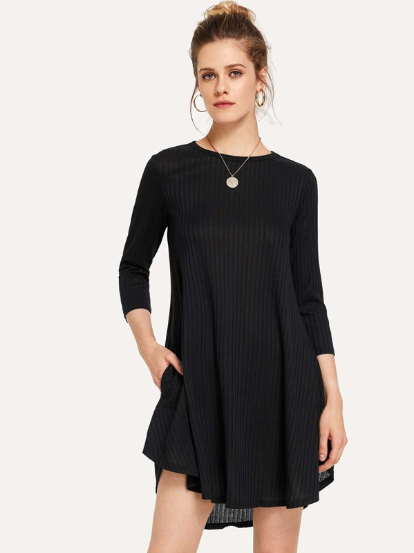 Marled Knit Ribbed Swing Dress, Victoriab