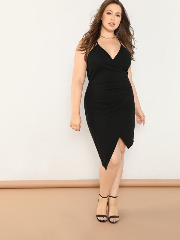Plus Ruched Wrap Cami Dress