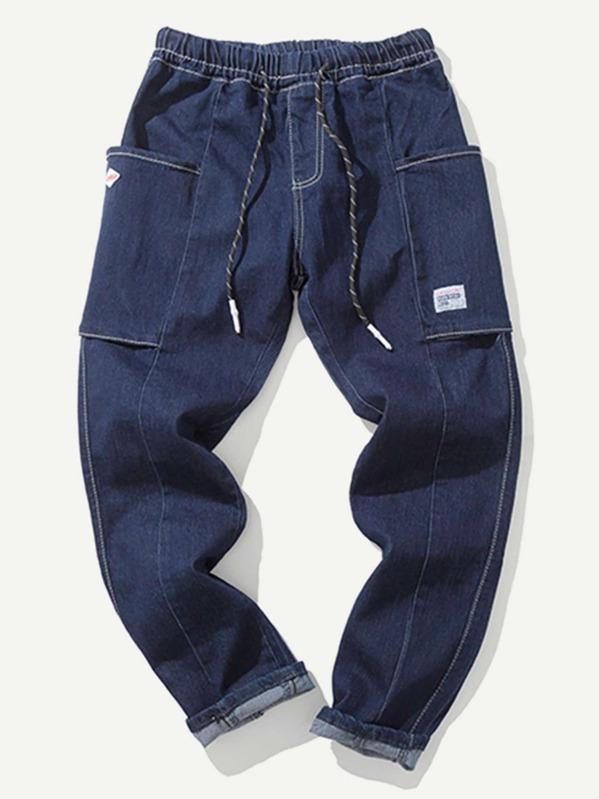 Men Pocket Decorated Drawstring Jeans