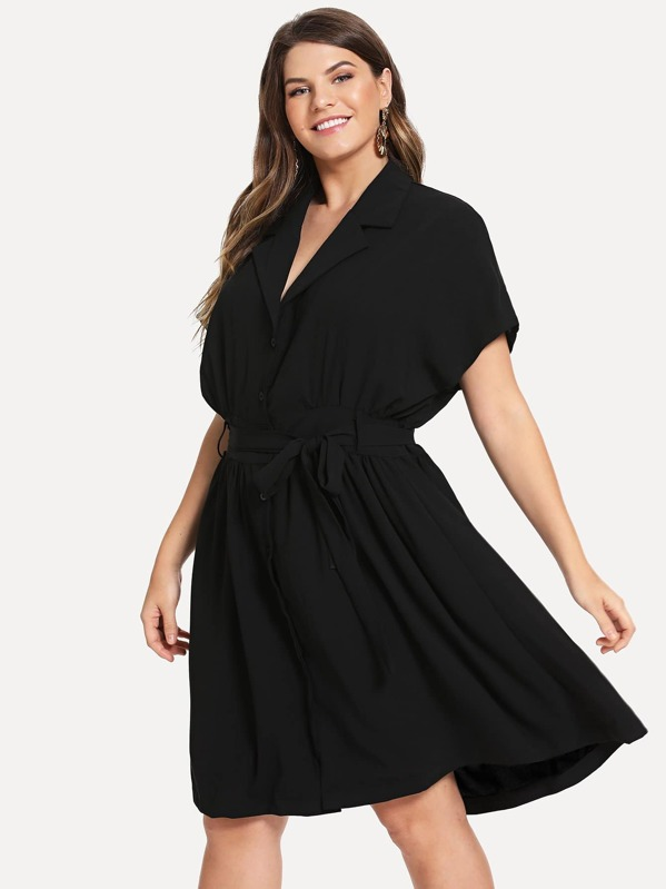 Plus Button Front Belted Notched Neck Dress, Isabela