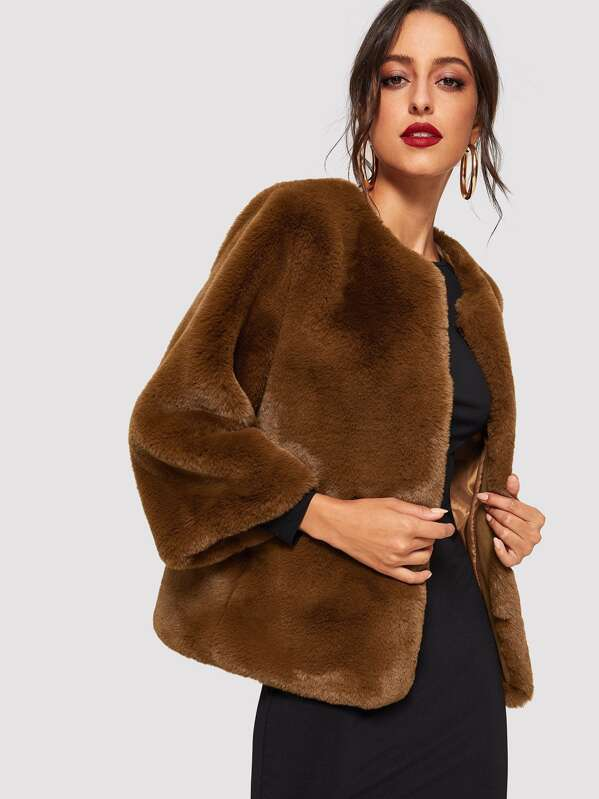 Open Front Solid Faux Fur Teddy Coat, Mary P.