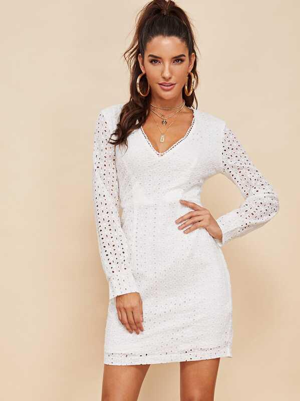 Lace Eyelet V-Neck Solid Dress, Juliana