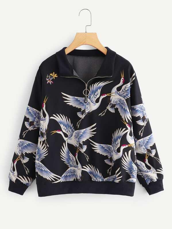 Crane Print Zip Front Sweatshirt, null