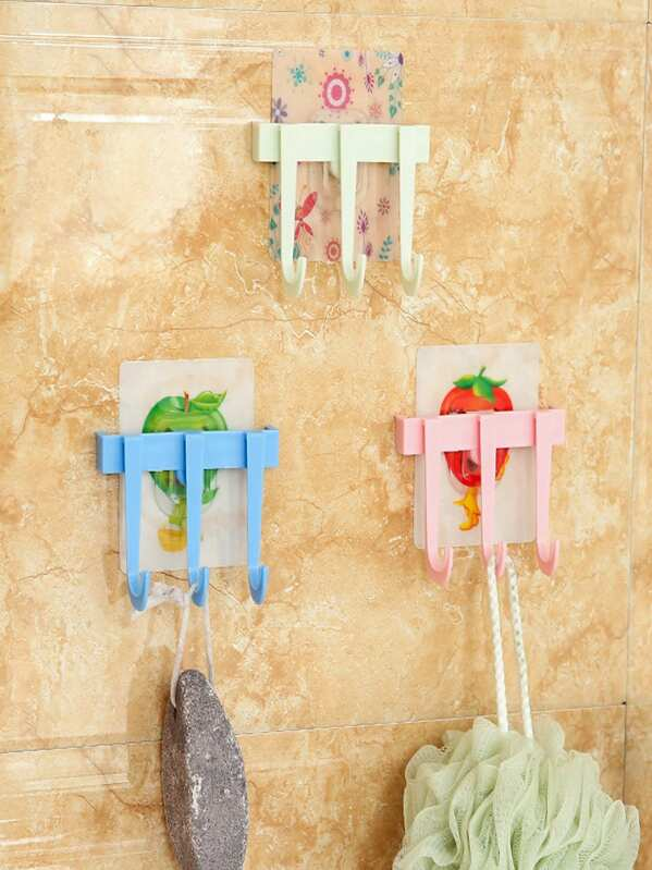 Random Pattern 4pcs Wall Sticker Hook With 3hooks