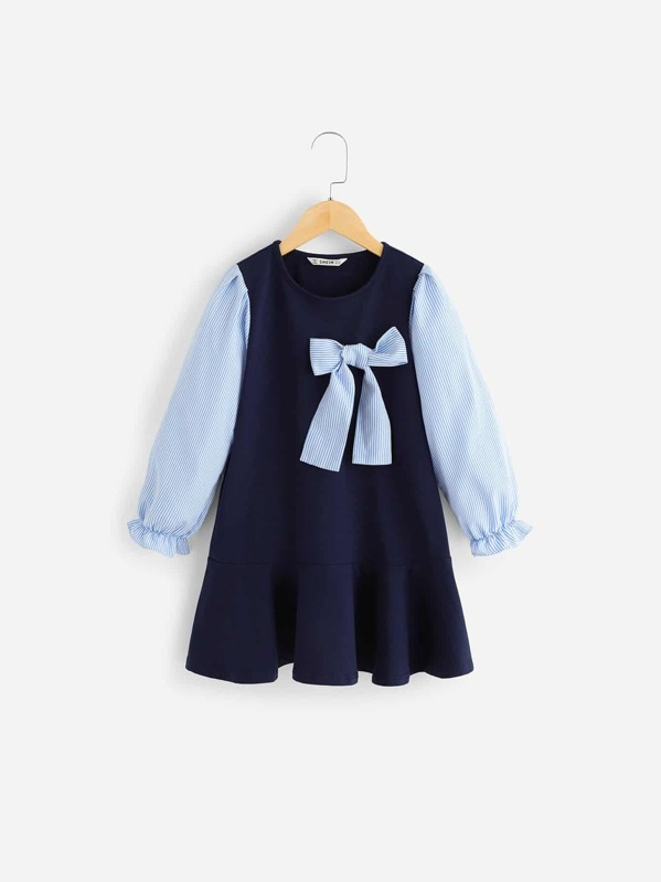 Girls Striped Sleeve Ruffle Hem Dress