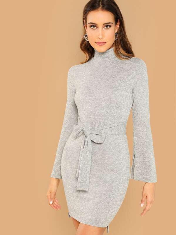 Mock Neck Heathered Knit Knot Dress, Anna Herrin