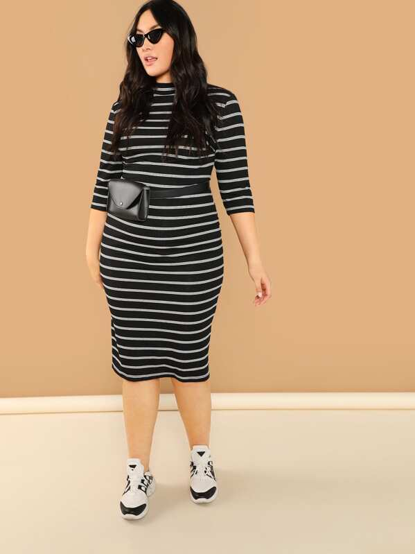 Plus Mock Neck Rib Knit Striped Pencil Dress, Yumi