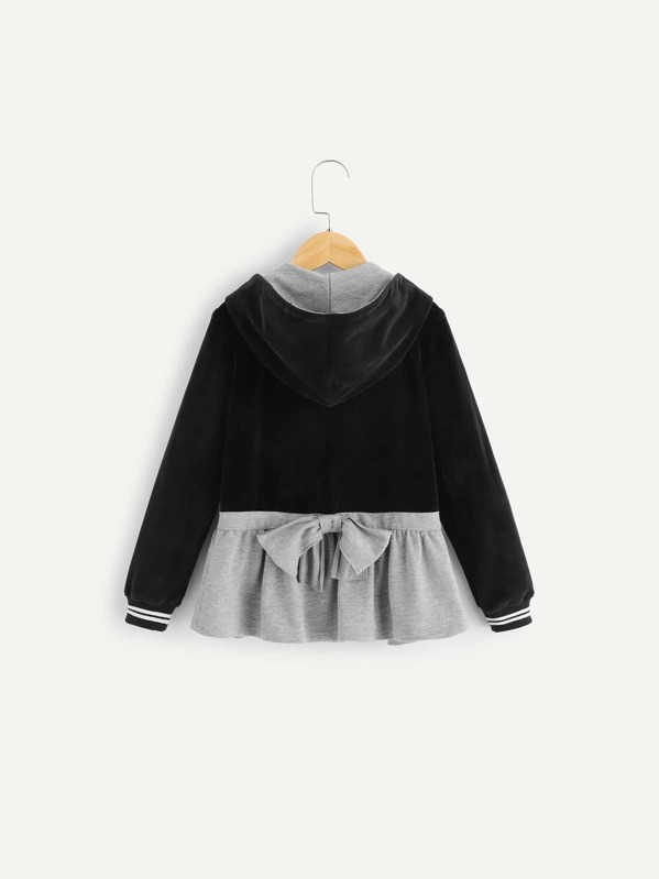 Girls Embroidered Detail Two Tone Zip Up Velvet Hoodie