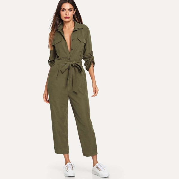 Roll Tab Sleeve Button Front Self Belted Utility Jumpsuit, Army green