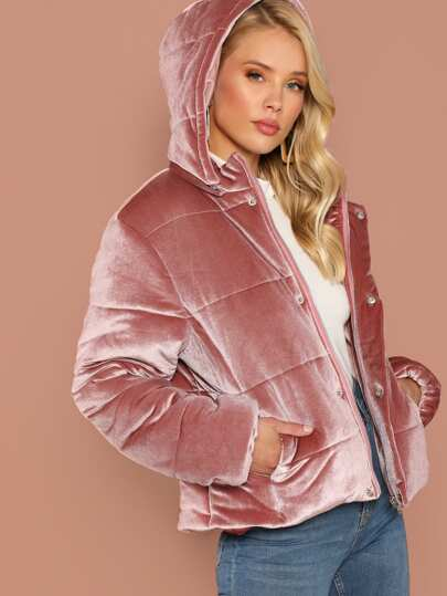 velvet hooded puffer coat