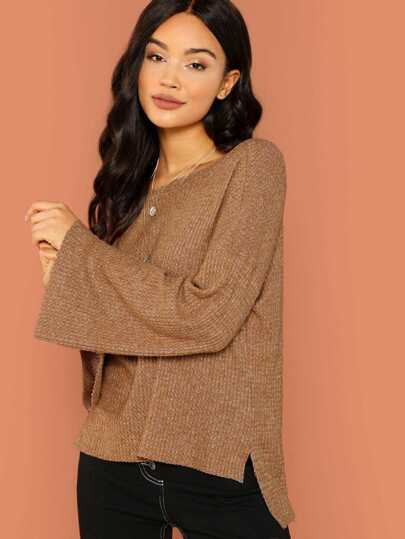 Brushed Waffle Knit Long Sleeve Sweater