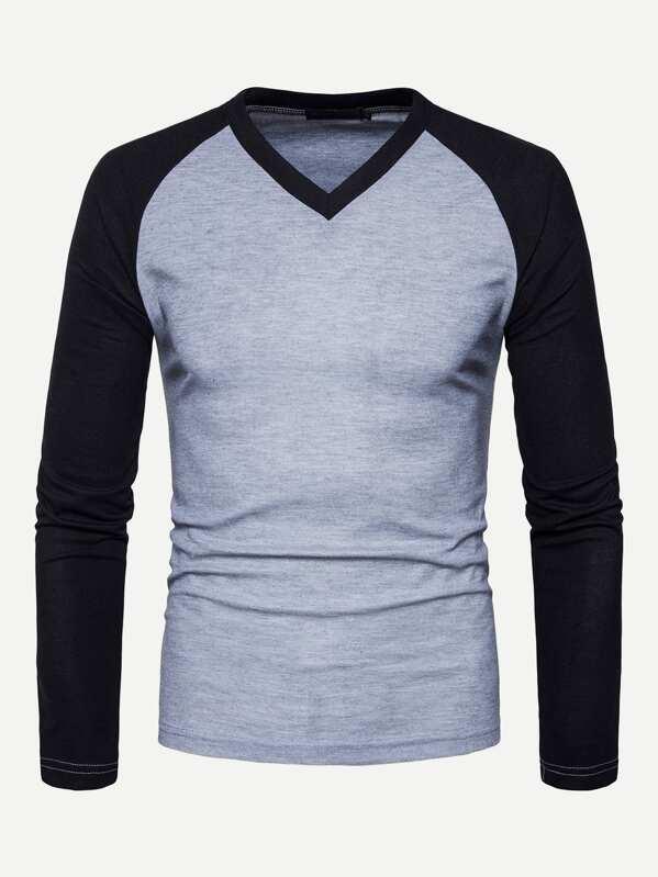Men Color-Block Raglan Sleeve V-Neck Tee, null