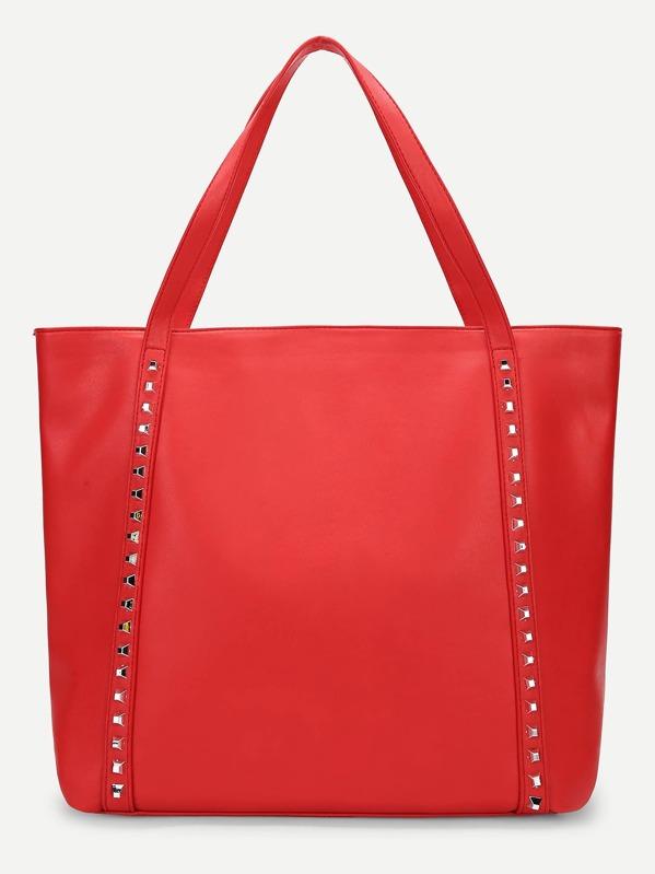 Plain Studded Detail Tote Bag