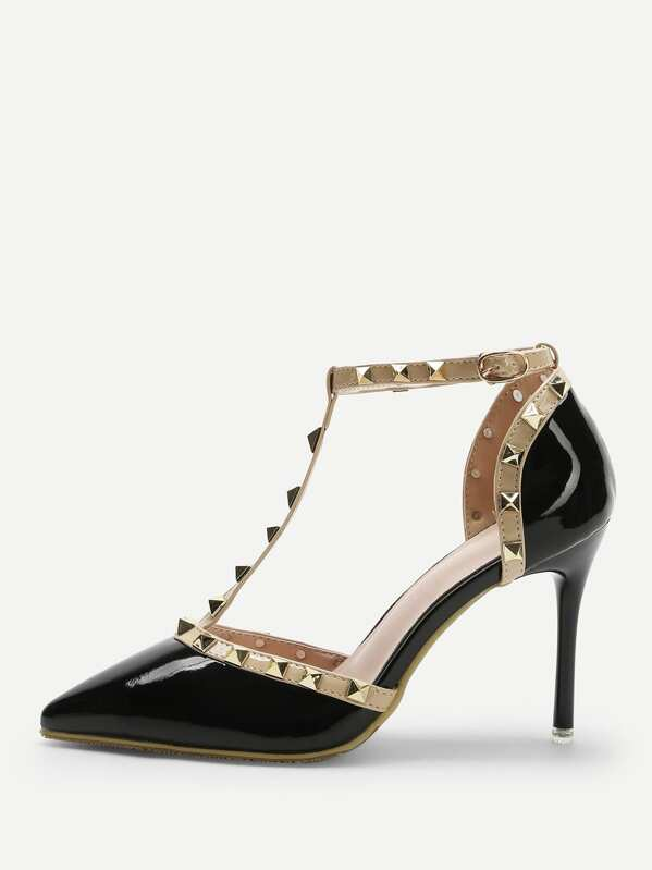 Black Pointed Toe T-shaped Stiletto Heels, null