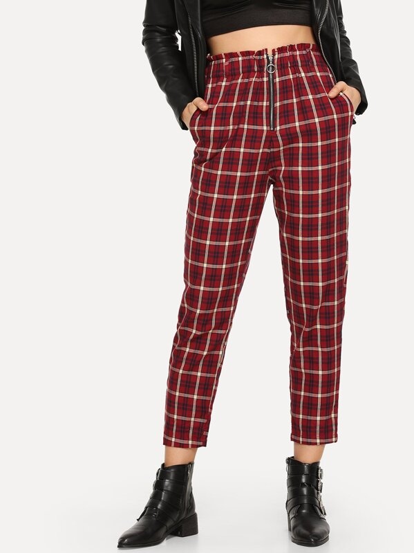 Exposed Zip Fly Plaid Peg Pants, Masha