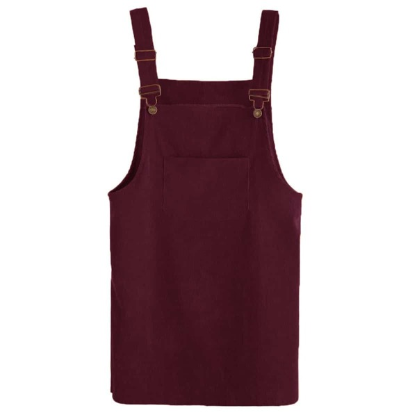 Front Pocket Corduroy Overall Dress, Burgundy