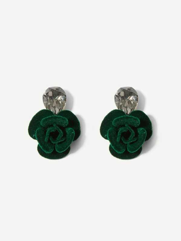 Flower Shaped Rhinestone Stud Earrings 1pair