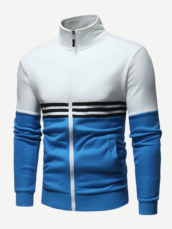 Men Contrast Panel Striped Zip Up Sweatshirt