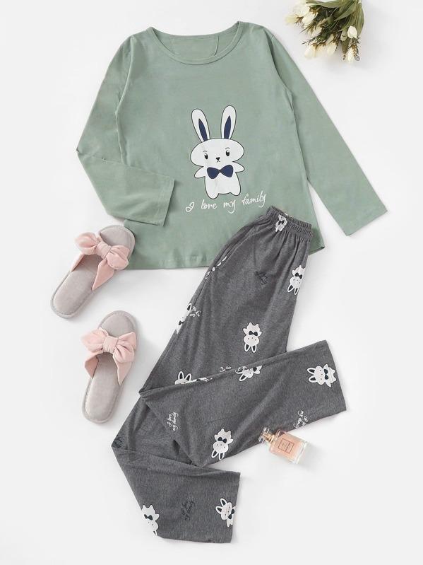 Christmas Rabbit Print Pajama Set, null