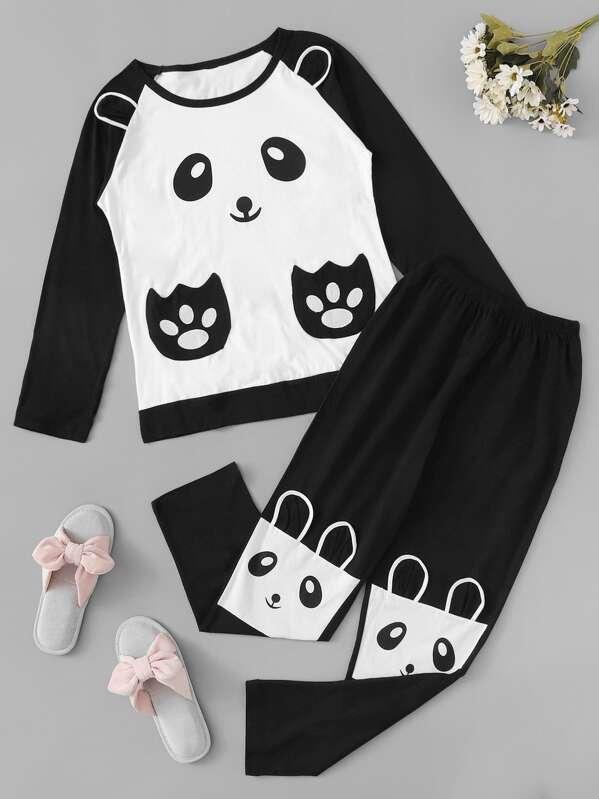Christmas Panda Print Pajama Set, null