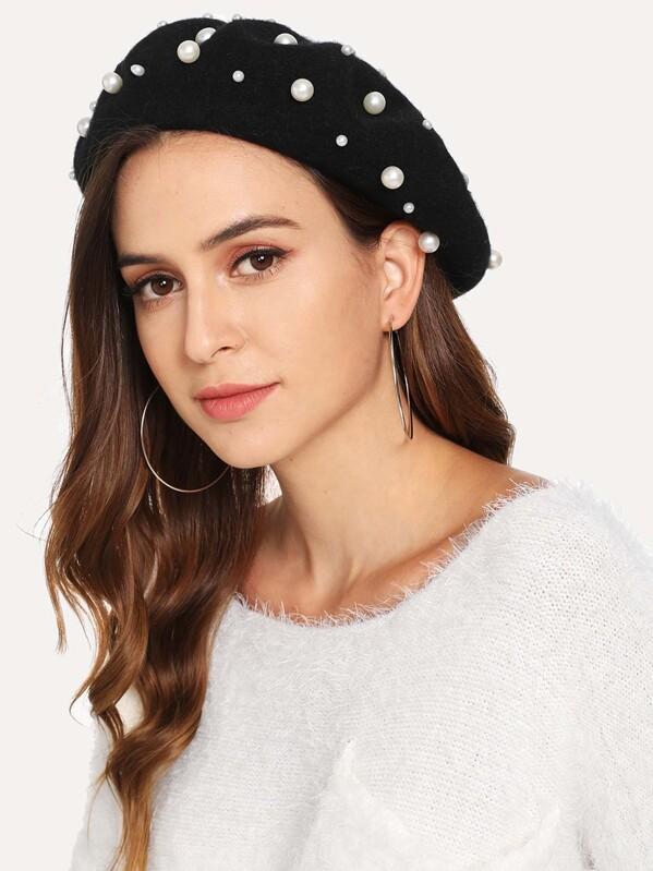 Faux Pearl Embellished Beret Hat, Black