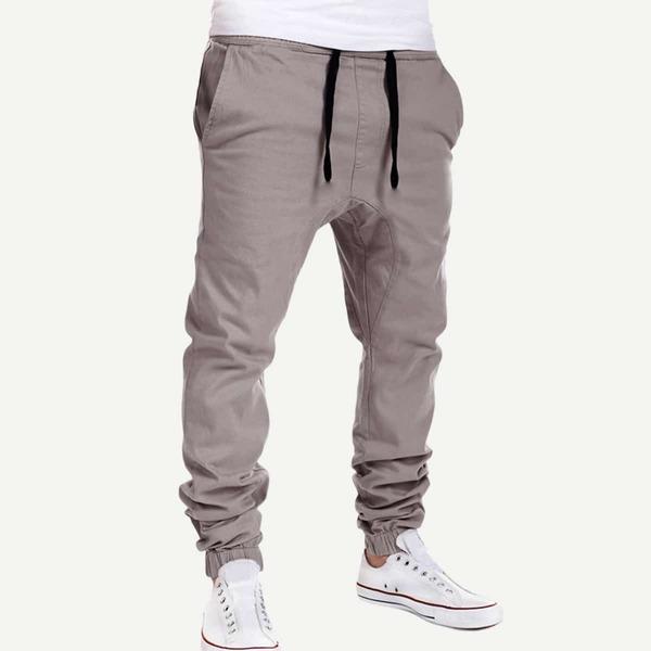 Men Solid Drawstring Pants, Grey
