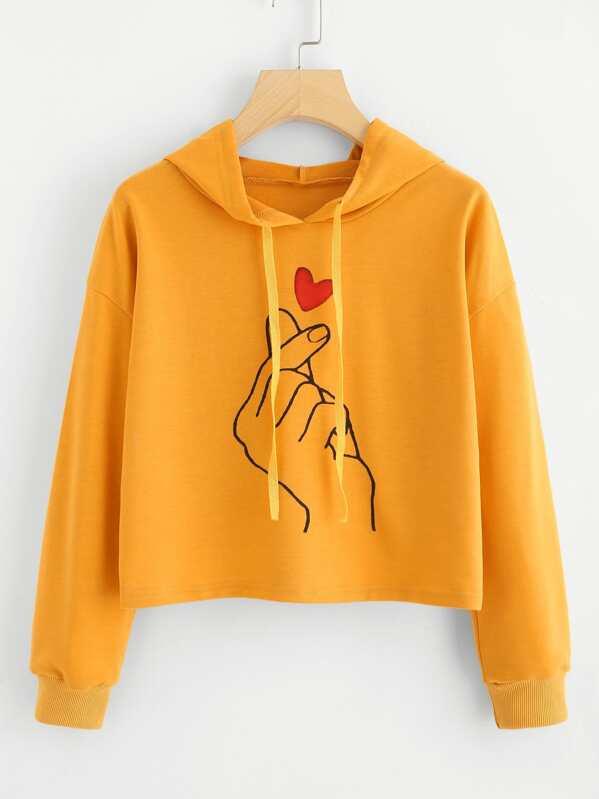 Plus Hand Print Hooded Sweatshirt, null