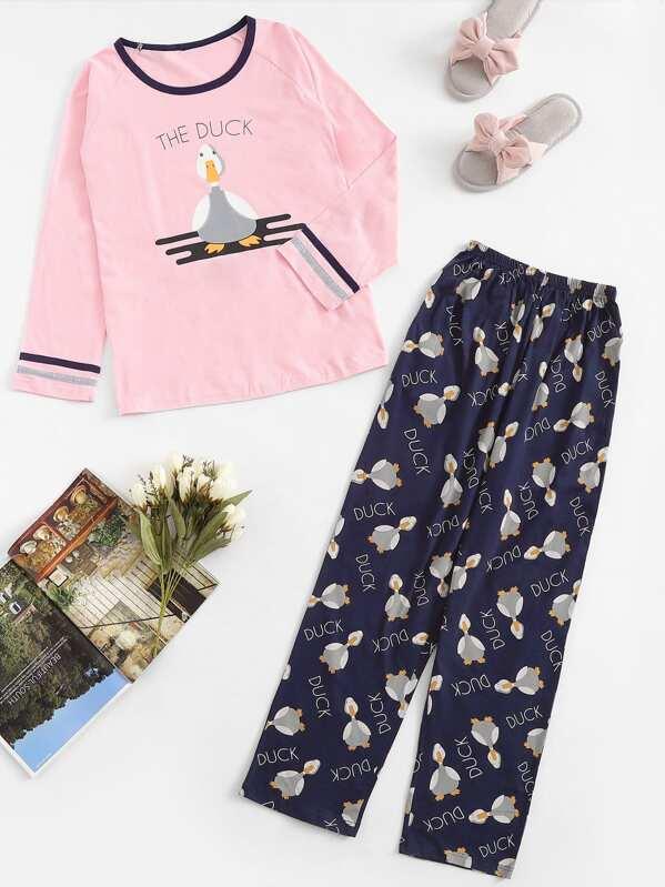 Christmas Duck & Letter Print Pajama Set, null