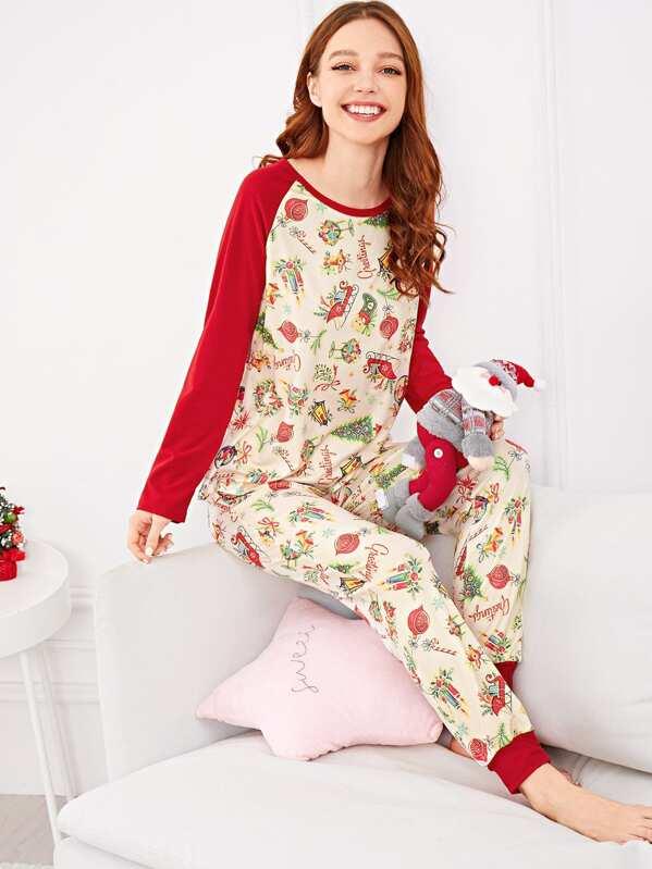 Christmas Cartoon Print Colorblock Pajama Set