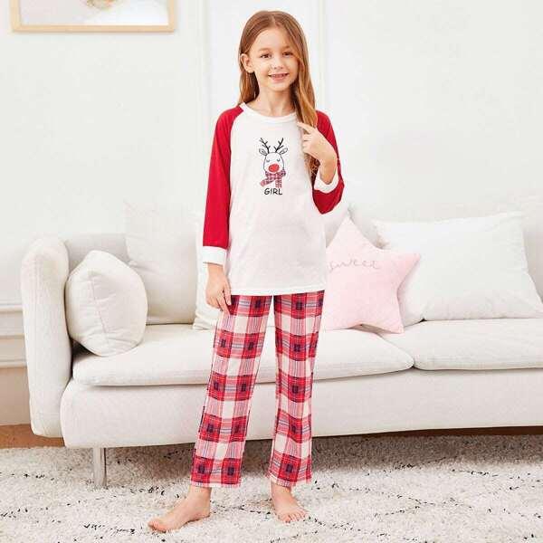 Christmas Girls Deer Print Top & Plaid Pants PJ Set